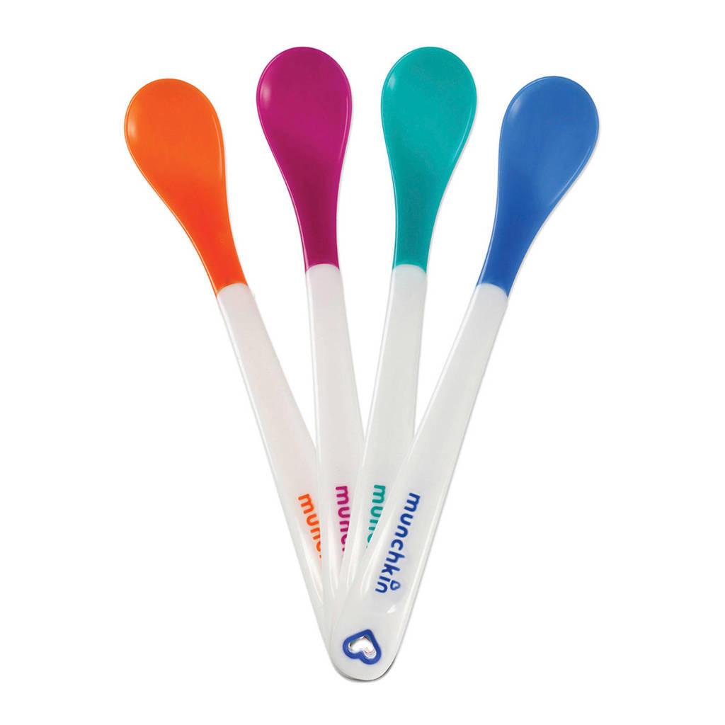 Munchkin lepels met hitte indicator (4 stuks), Oranje/paars/groen/blauw