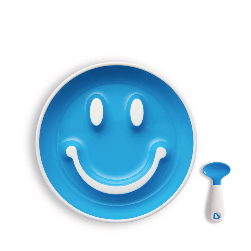 Munchkin Smile 'N Scoop bord + lepel geel, Geel