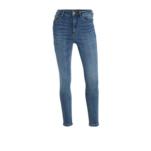 ONLY cropped high waist skinny jeans blauw