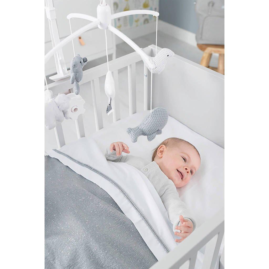 Deken Baby Ledikant.Sparkle Ledikantdeken Overtrek 100x135 Zilvergrijs