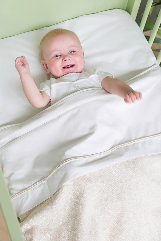 Baby's Only baby ledikantlaken 120x150 cm wit/zilver-roze mêlee, Zilver-roze mêlee/wit