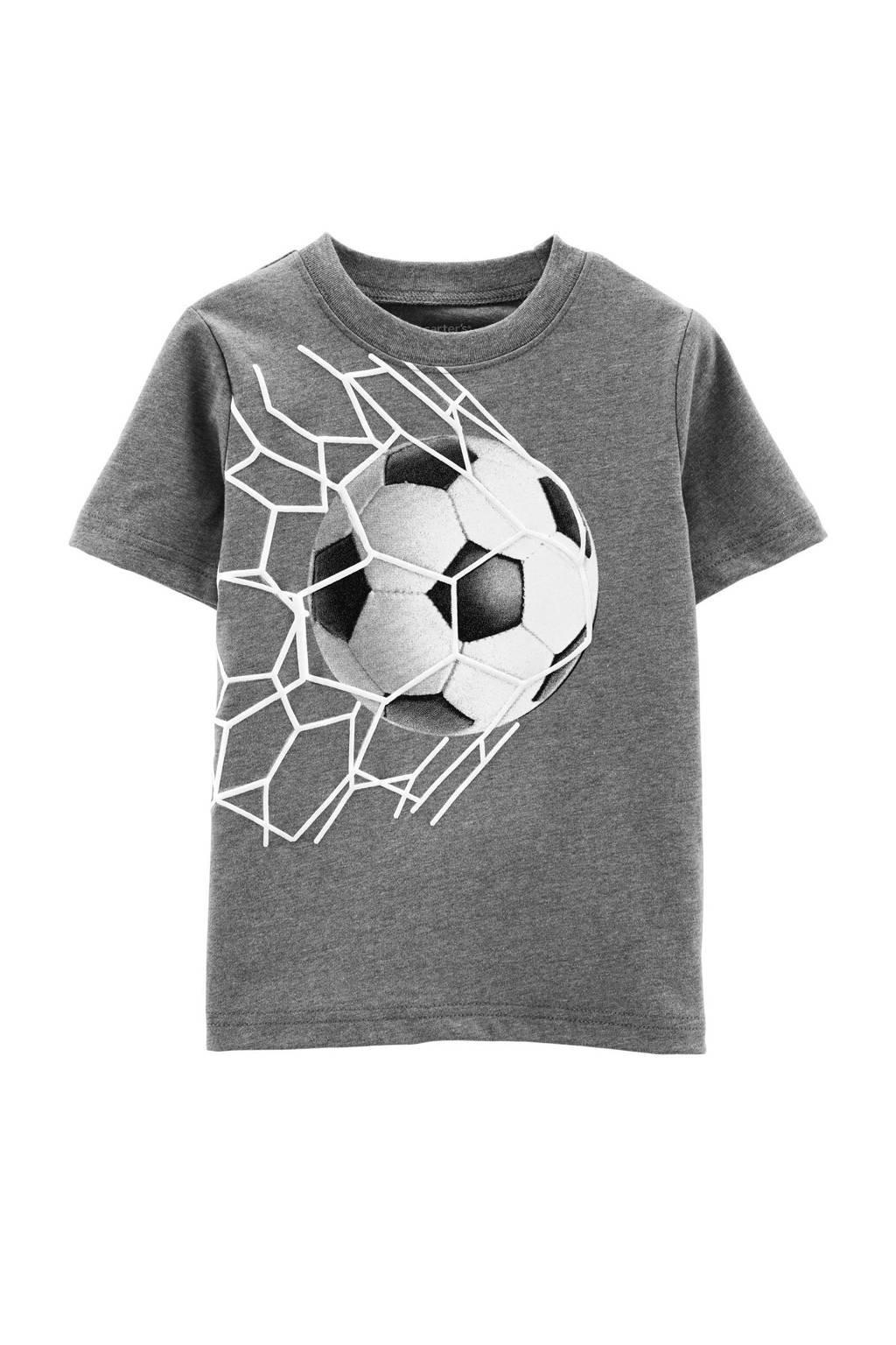 Carter's baby T-shirt met printopdruk grijs melange, Grijs melange