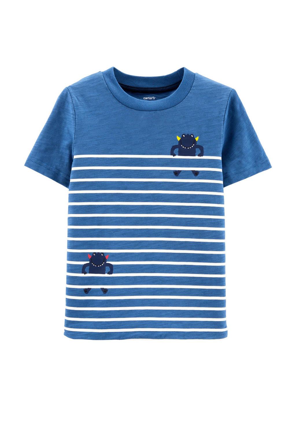 Carter's baby gestreept T-shirt blauw/wit, Blauw/wit