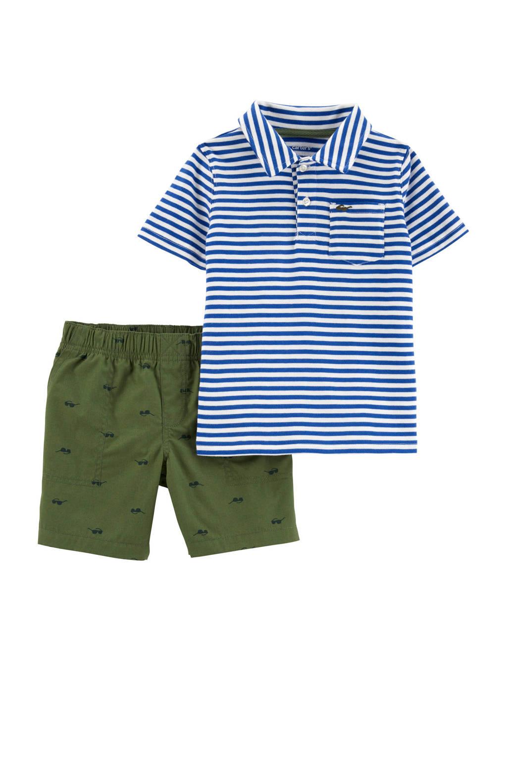 Carter's polo + short, Blauw/wit/groen
