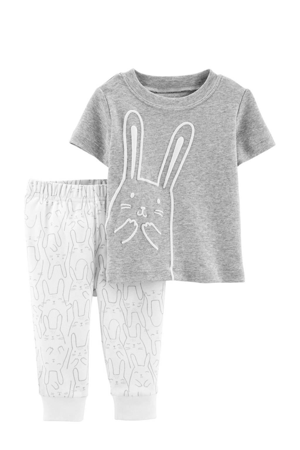 Carter's   pyjama met konijnen grijs, Grijs/wit
