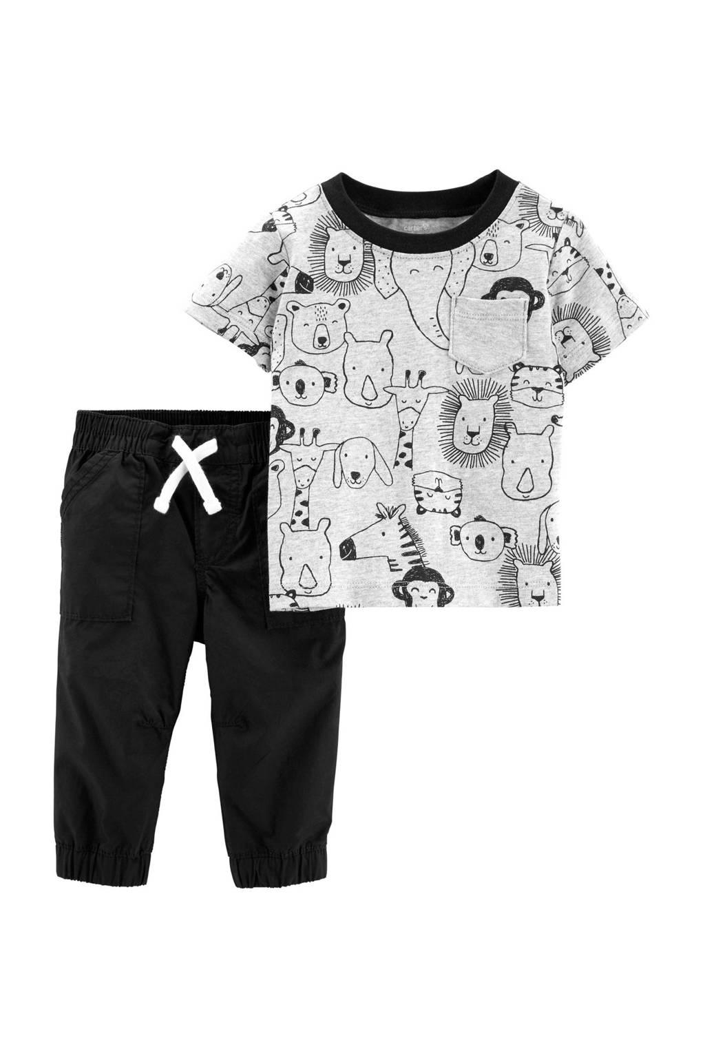 Carter's T-hirt + broek, Grijs/zwart