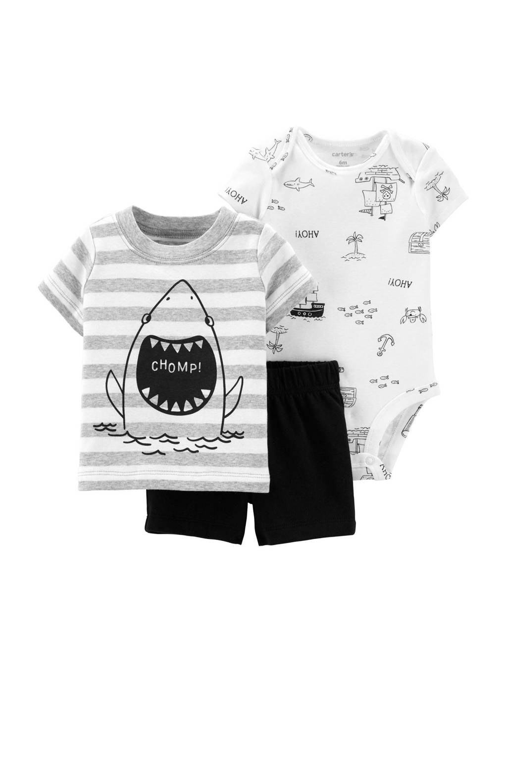 Carter's T-shirt + sweatshort + romper, Wit/grijs/zwart