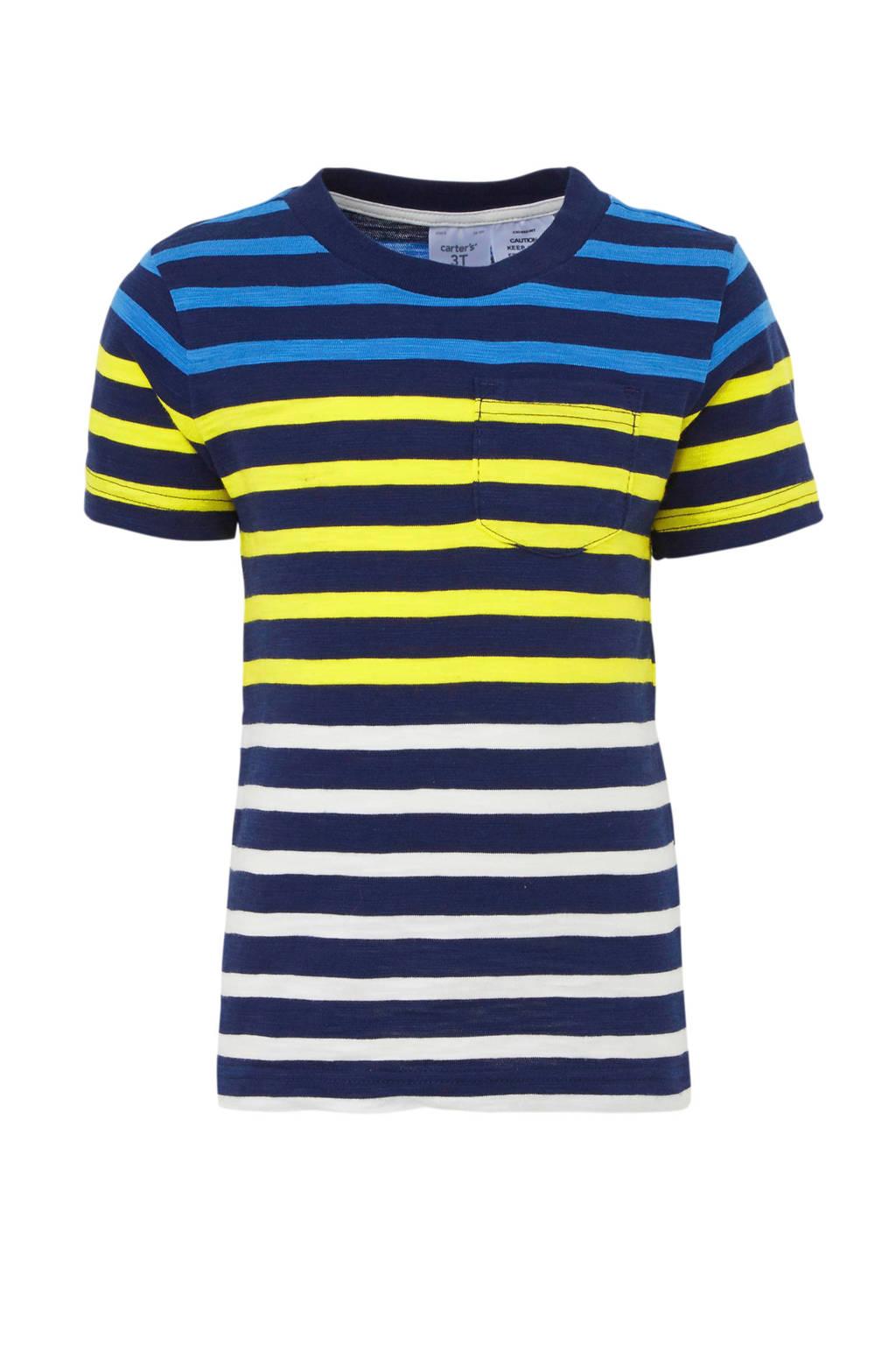 Carter's gestreept T-shirt donkerblauw/geel, Donkerblauw/geel