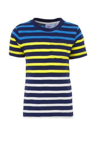 gestreept T-shirt donkerblauw/geel
