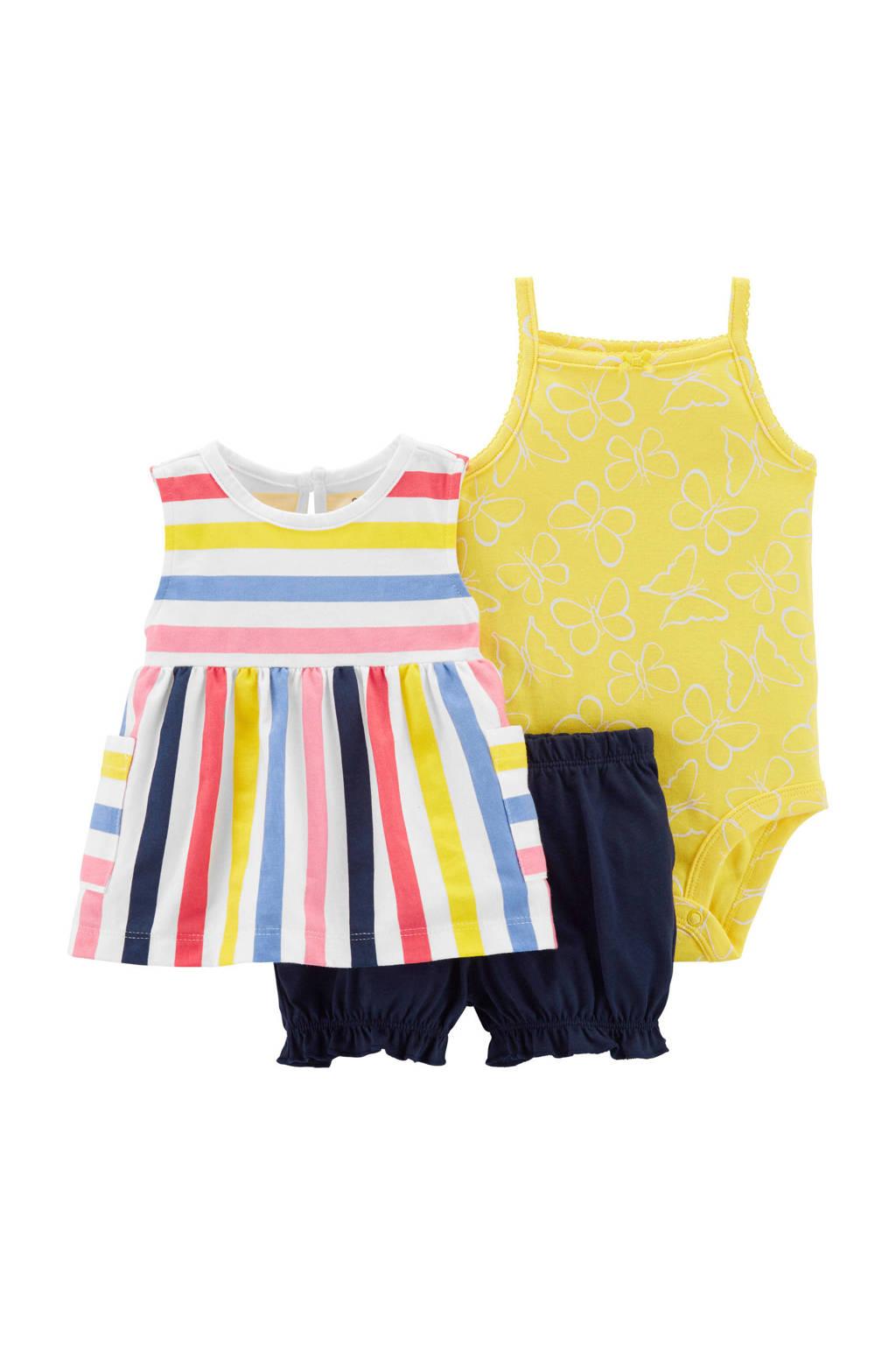 Carter's top + short + romper, Wit/blauw/geel