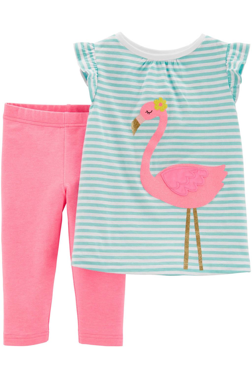 Carter's tuniek + legging, Lichtblauw/wit/roze
