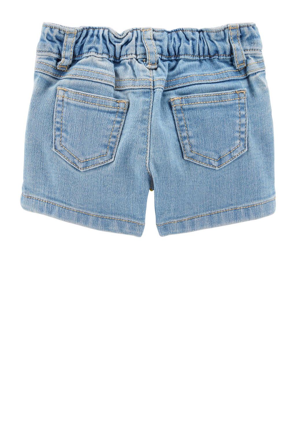 Carter's baby jeans short met borduursels, Denim blauw