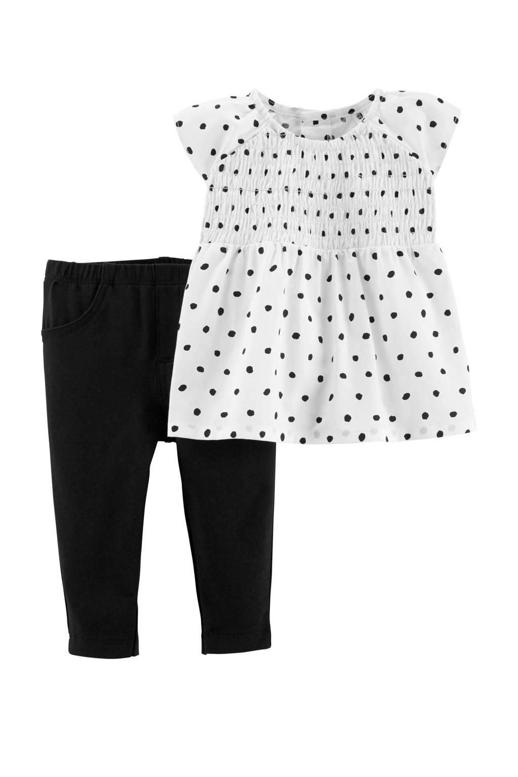 Carter's baby top + broek, Wit/zwart