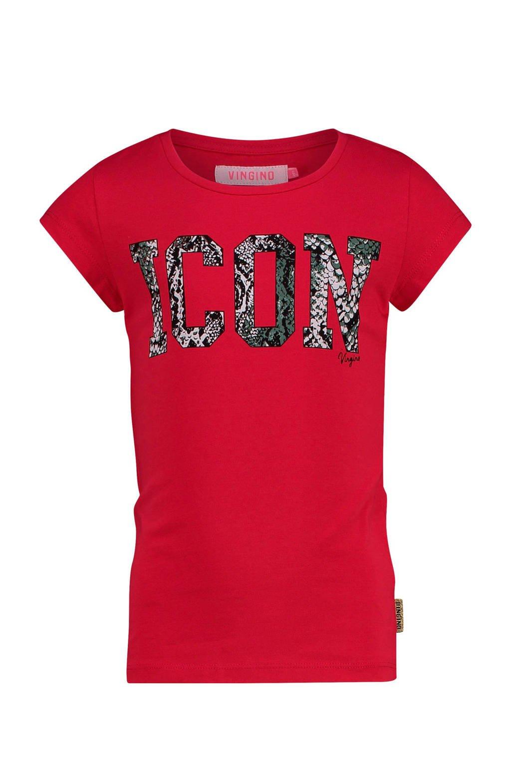 Vingino T-shirt Haydel met tekst rood, Rood