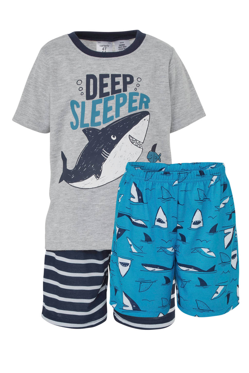 Carter's   shortama met haai grijs/blauw, Grijs/donkerblauw/blauw