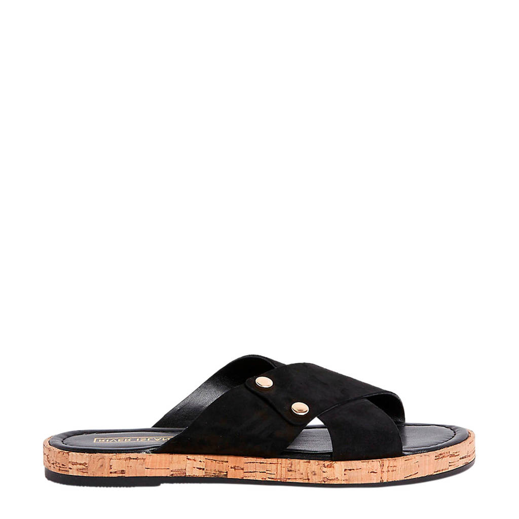 River Island   leren slippers zwart, Zwart