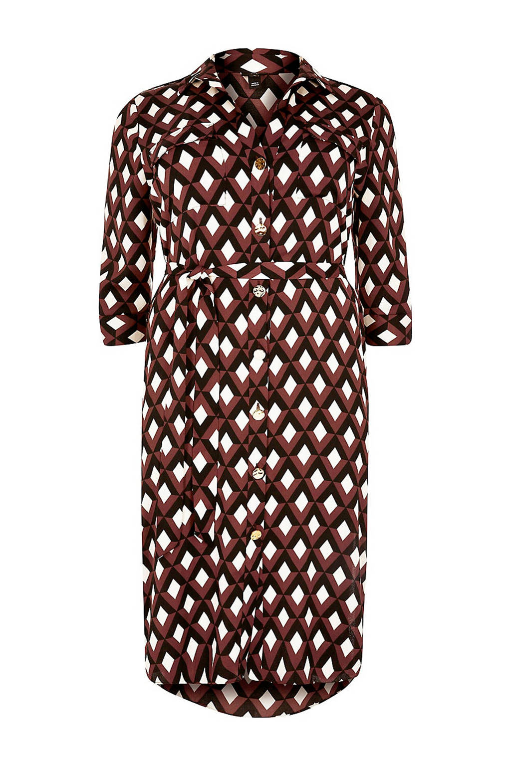 River Island Plus blousejurk met grafische print bruin, Bruin