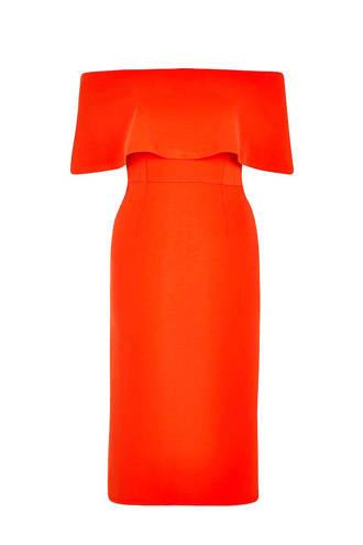 off-shoulder jurk rood