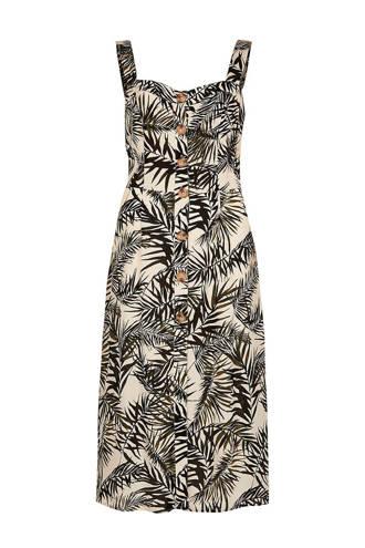 getailleerde jurk met bladprint