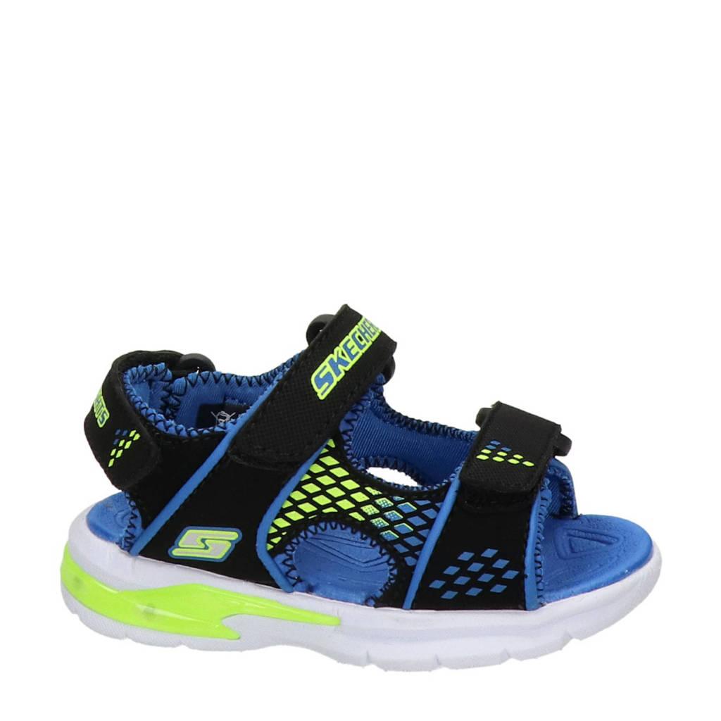 Skechers   sandalen zwart/blauw, Zwart/blauw