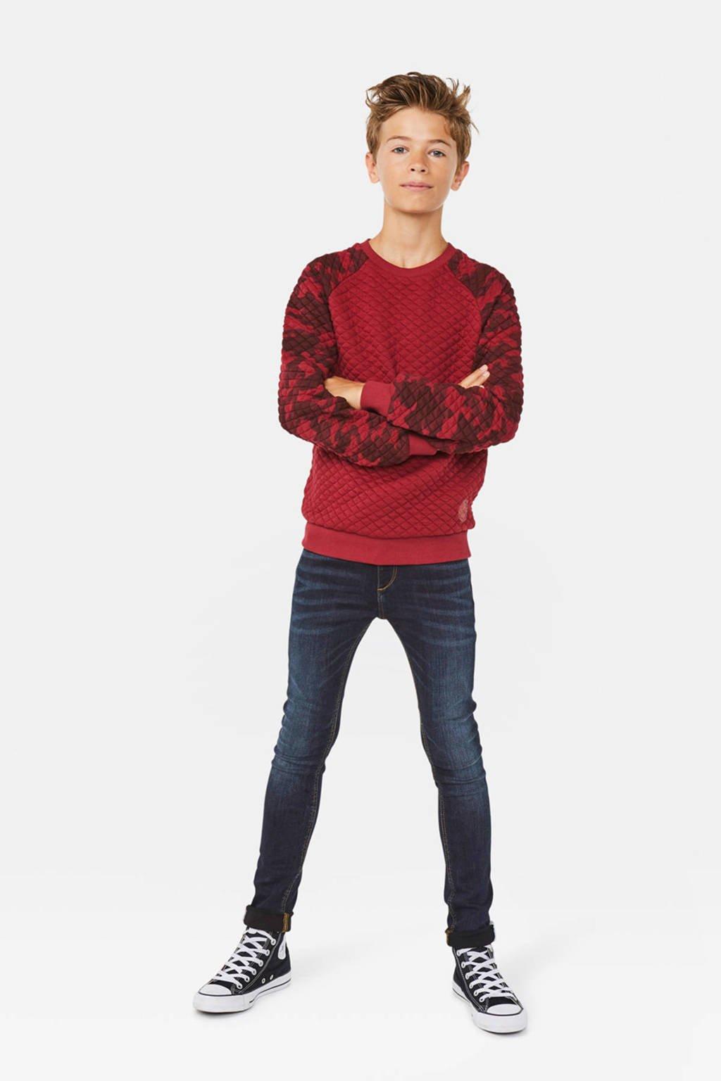 WE Fashion sweater met camouflageprint en textuur rood, Rood
