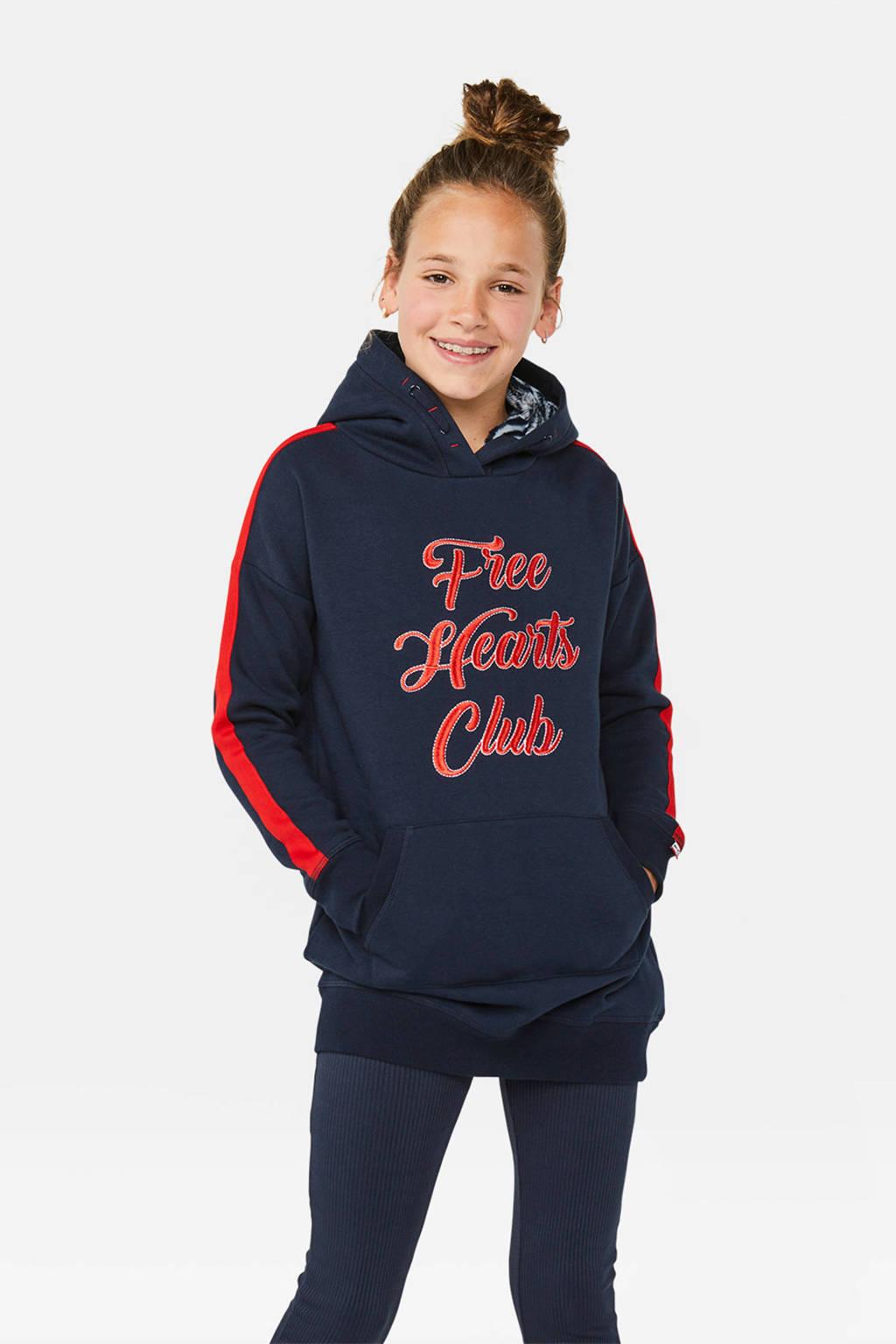 WE Fashion sweatjurk met contrastbies donkerblauw/rood, Donkerblauw/rood