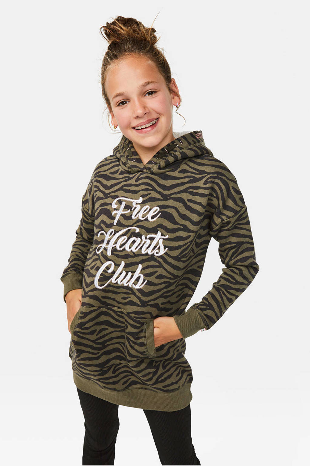 WE Fashion sweatjurk met zebraprint groen/zwart, Groen/zwart