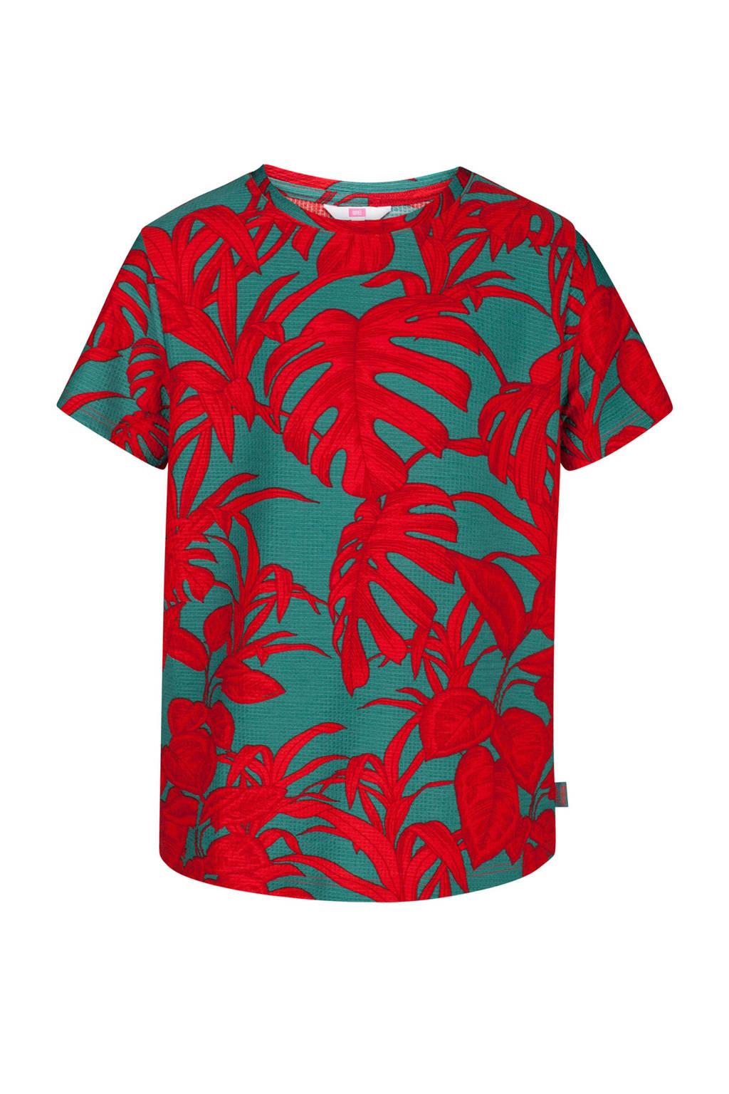 WE Fashion T-shirt met all over bladeren dessin rood, Rood/grijs