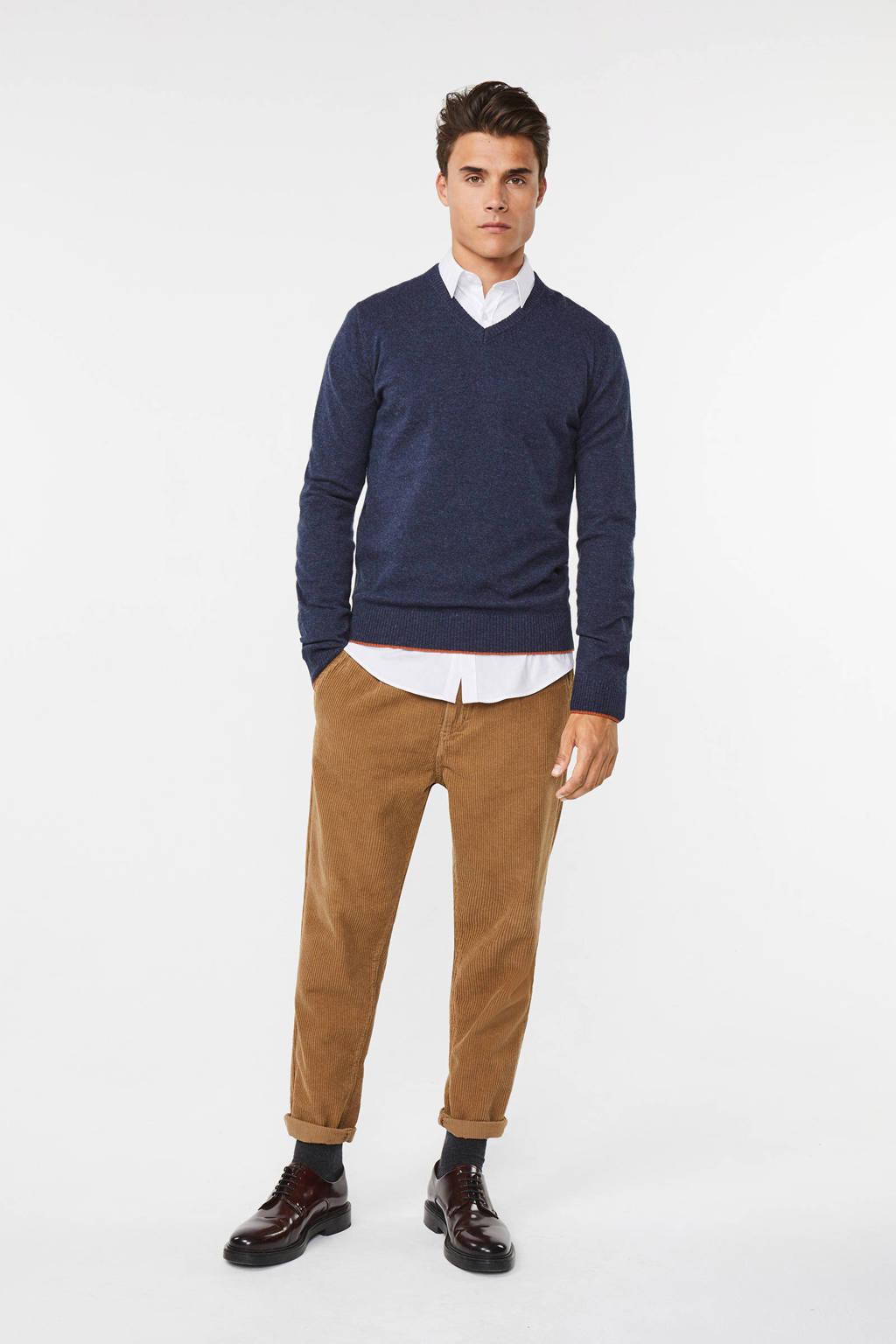 WE Fashion trui met wol donkerblauw, Donkerblauw
