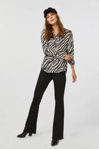 WE Fashion blouse met zebraprint zwart/wit, Zwart/wit