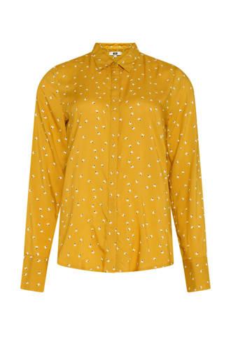 blouse met all over print geel/wit