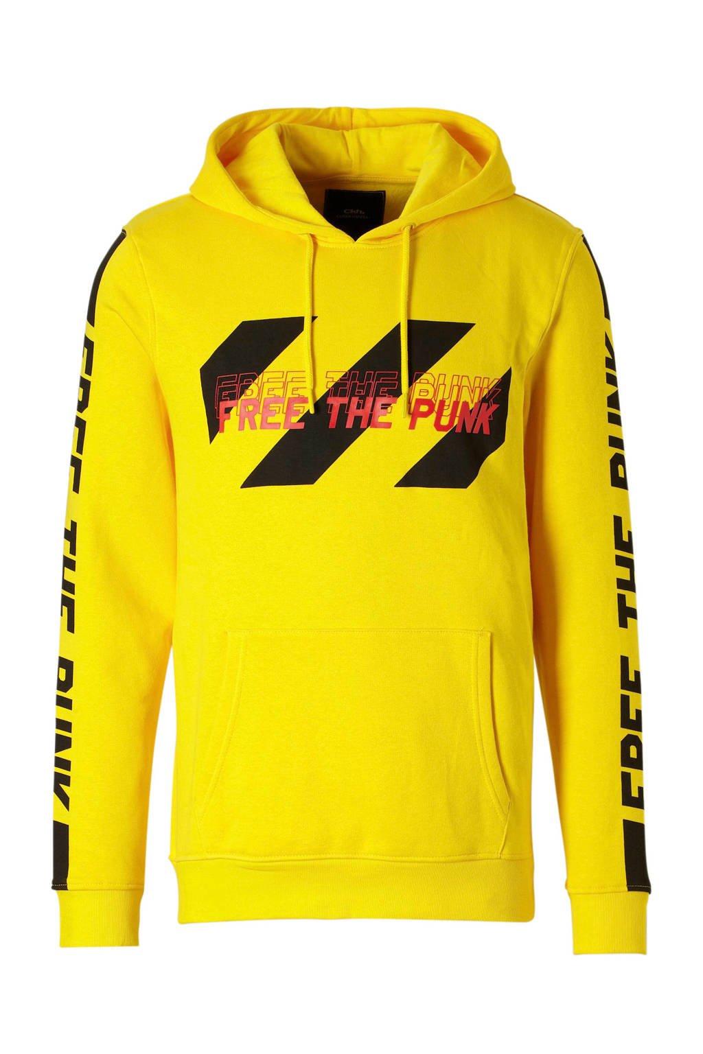 C&A Clockhouse hoodie met print geel, Geel/zwart