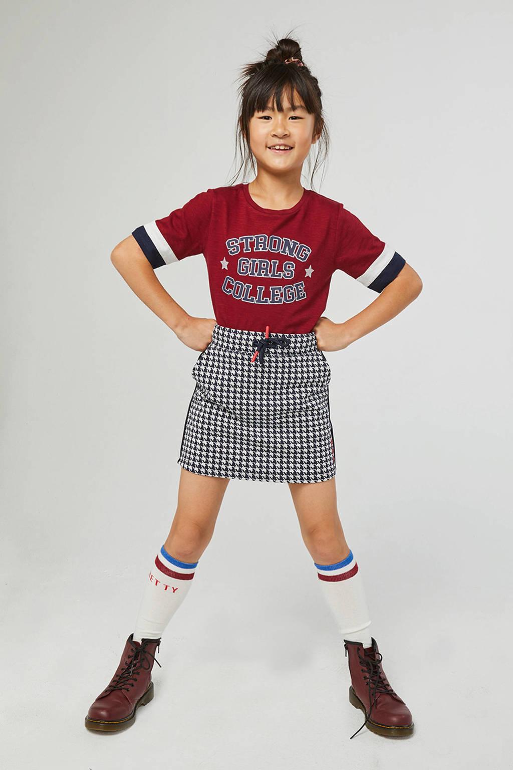 WE Fashion T-shirt met tekst donkerrrood, Donkerrrood