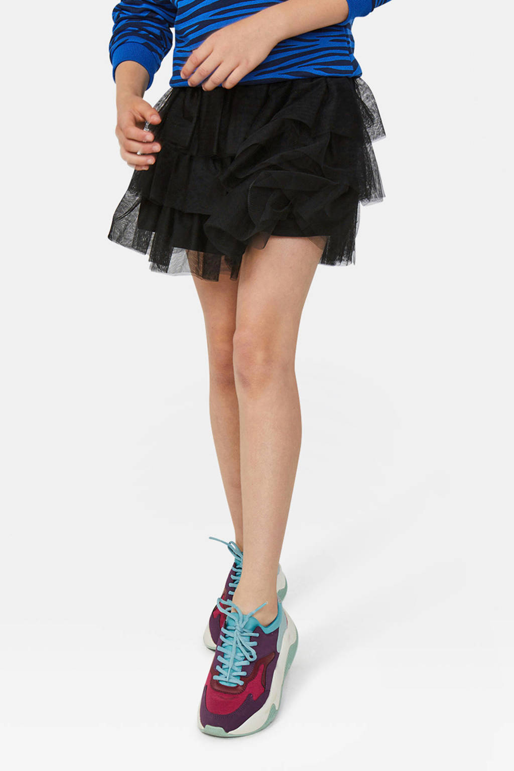 WE Fashion mesh rok zwart, Zwart