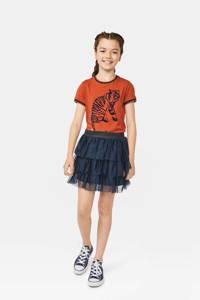 WE Fashion mesh rok donkerblauw, Donkerblauw