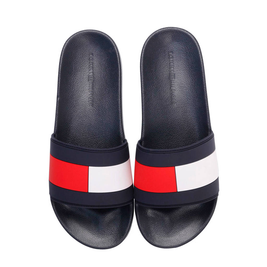 blauw Slide Rood Tommy Pool Slippers Hilfiger Essential Flag qfWgw0v8