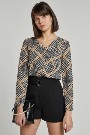 blouse van gerecycled polyester wit/groen/bruin