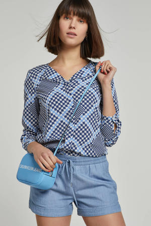 blouse met all over print blauw/wit