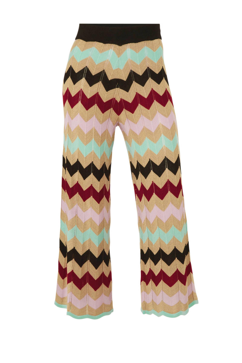 River Island high waist loose fit broek met all over print beige/zwart/mintgroen, Beige/zwart/mintgroen