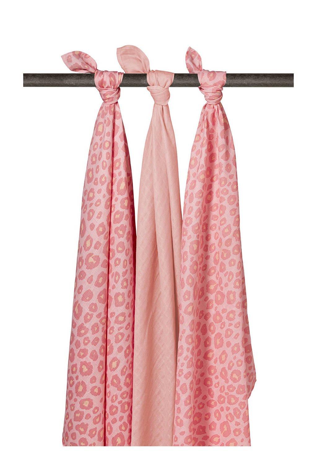 Meyco hydrofiele multidoeken donkerroze - set van 3, Donkerroze/roze