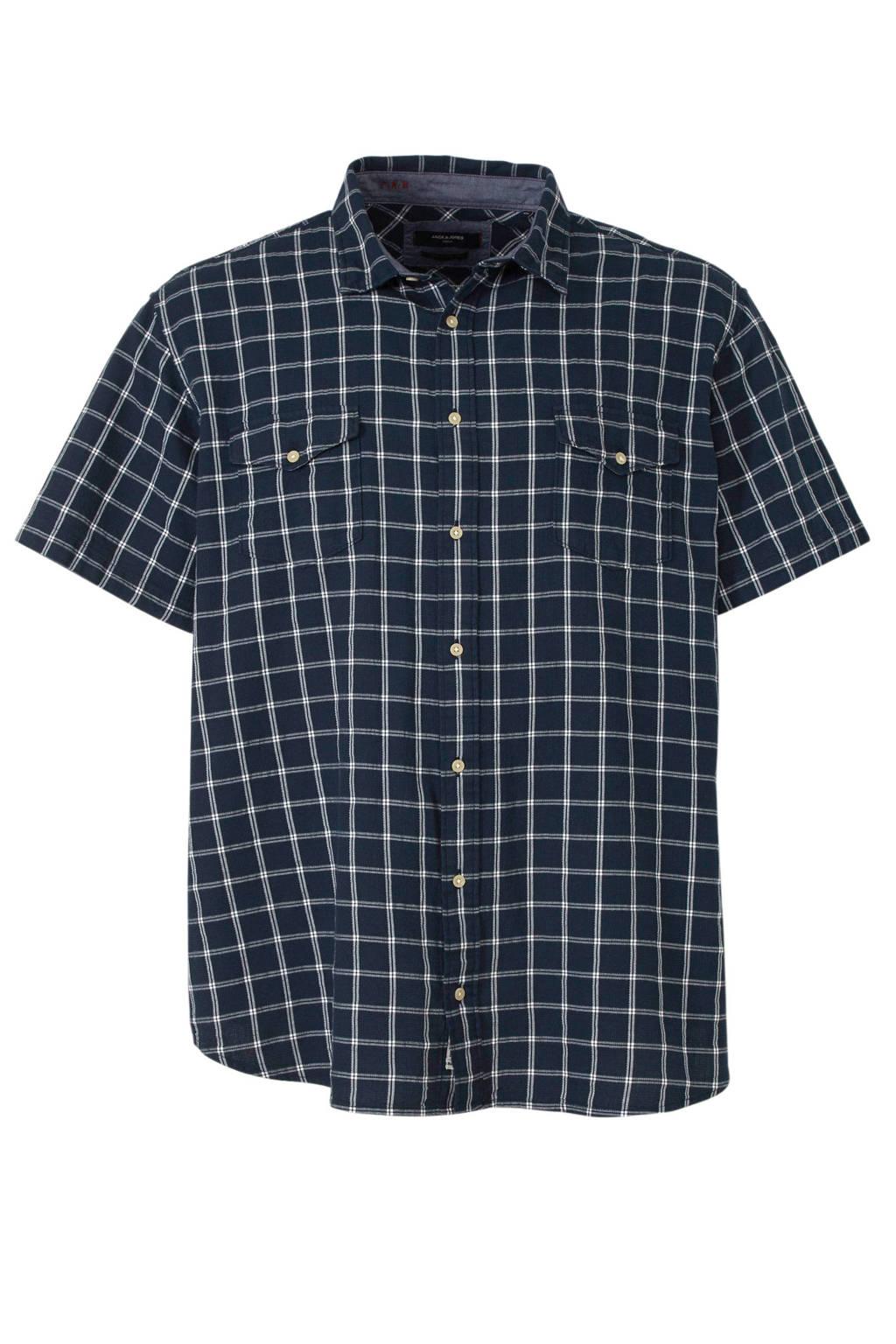 Jack & Jones Plus Size geruit regular fit overhemd, Donkerblauw