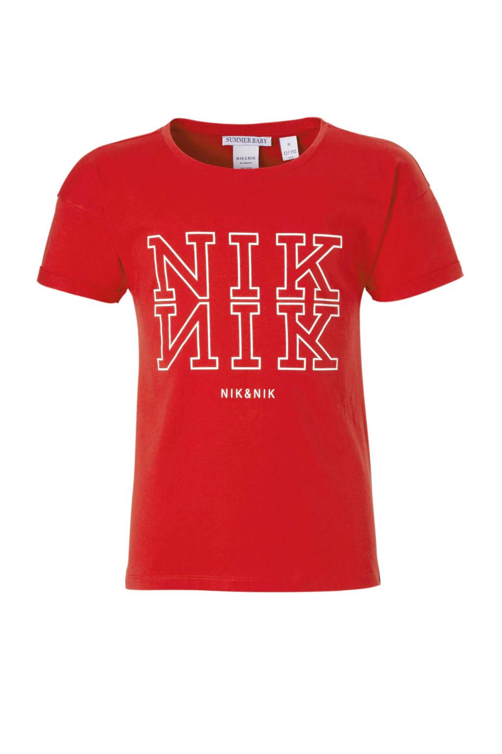 NIK&NIK T-shirt Willemijn met logo rood, Rood