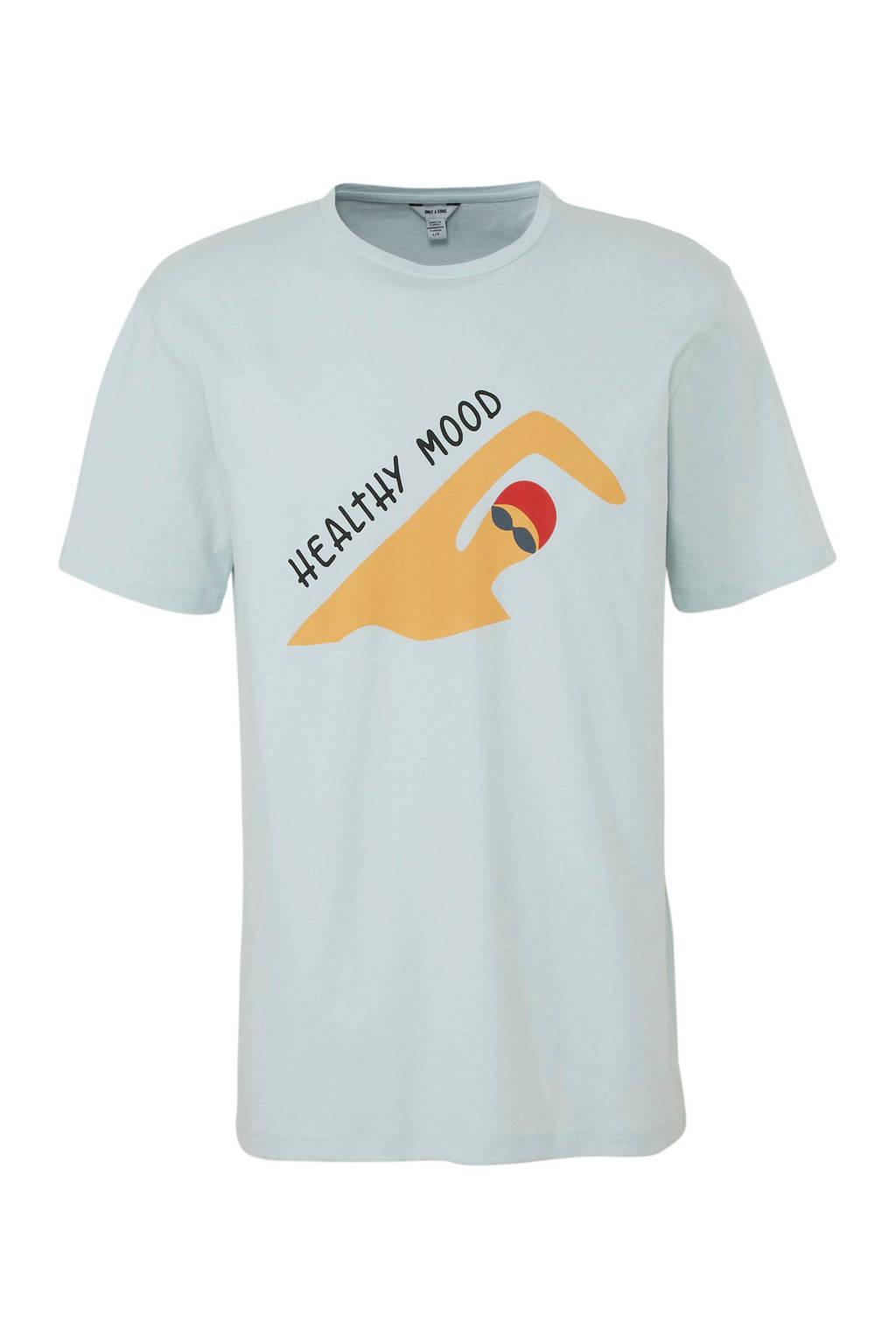 ONLY & SONS T-shirt met printopdruk grijsblauw, Grijsblauw