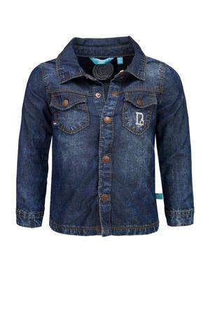 denim overhemd met tekst donkerblauw