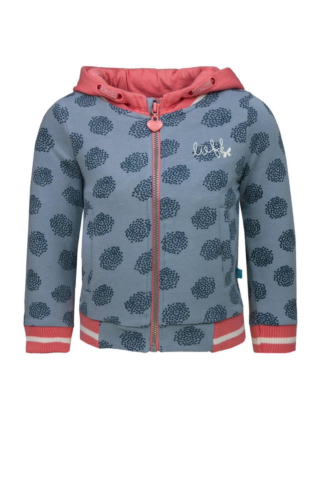 lief! vest met all over print lichtblauw/donkerblauw/roze, Lichtblauw/donkerblauw/roze