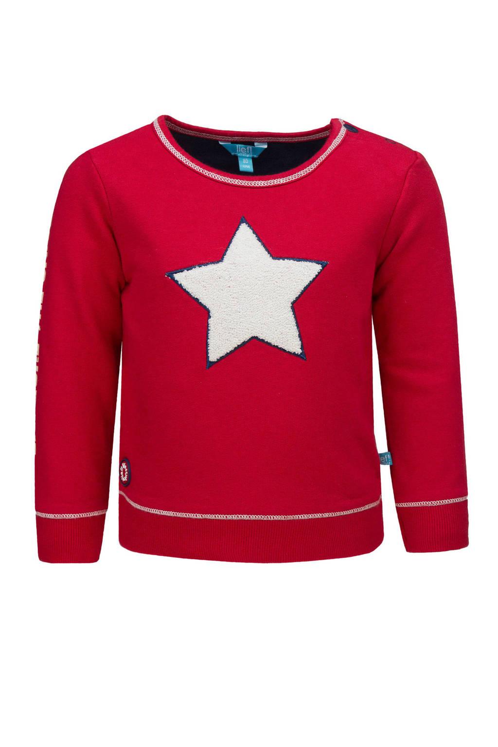 lief! sweater met printopdruk en 3D applicatie rood, Rood