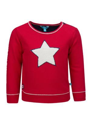 sweater met printopdruk en 3D applicatie rood