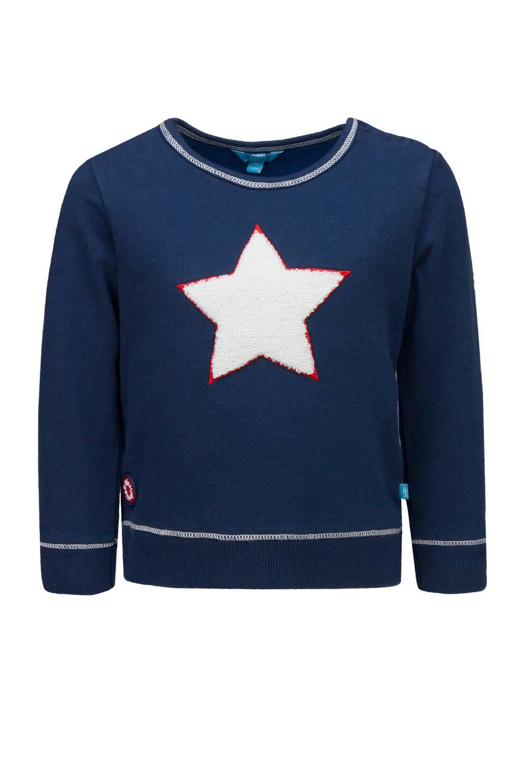 lief! sweater met printopdruk en 3D applicatie donkerblauw/wit, Donkerblauw/wit