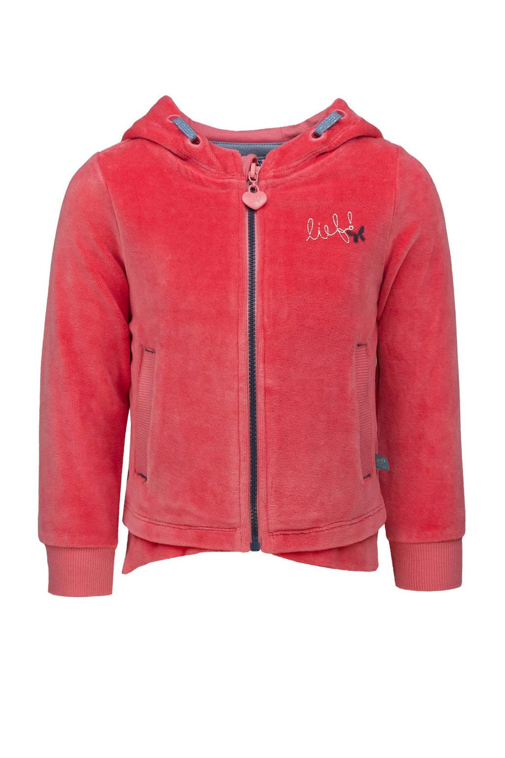 lief! badstof vest met logo en borduursels roze, Roze
