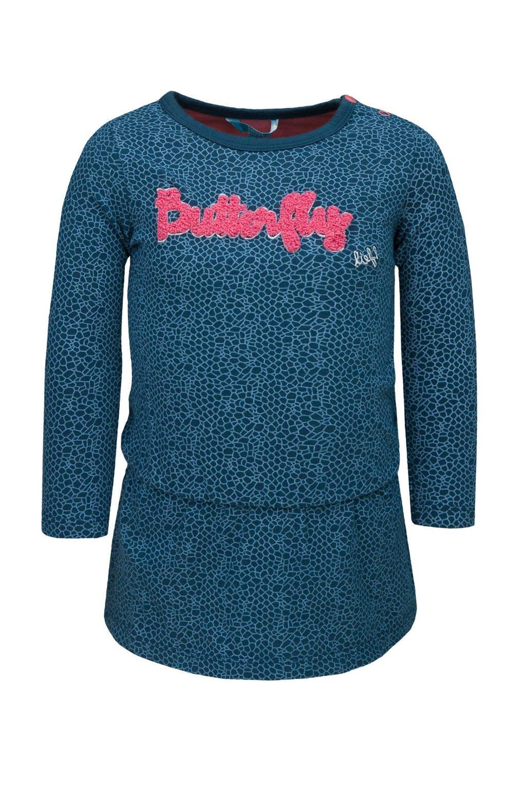 lief! jurk met tekst donkerblauw/roze, Donkerblauw/roze